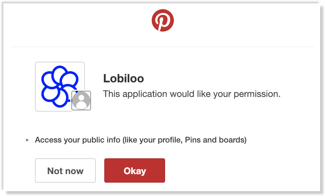 Lobiloo permission screen inside Pinterest