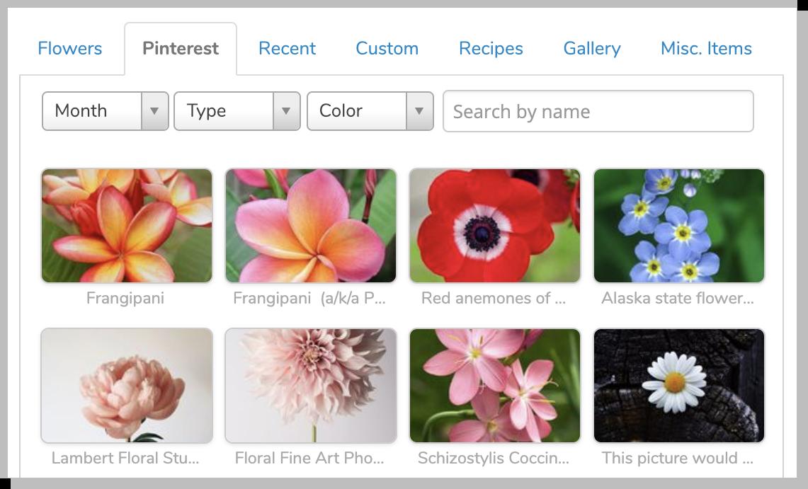 Pinterest integration inside Lobiloo